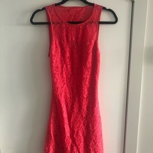 Coral lace bodycon mini dress